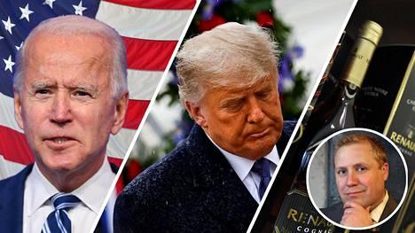 Joe Biden (vasemmalla) sai noin viisi miljoonaa ääntä enemmän kuin Donald Trump ja selvän enemmistön valitsijamiehistä, joten tutkimusjohtaja Juho Rahkonen häviää viime hetkellä tuplatun vedon ja kaksi konjakkipulloa.