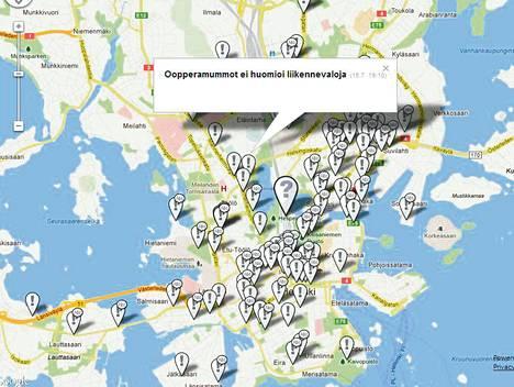 Helsingin keskustaa koskevia vinkkejä on tullut runsaasti. Eräs vinkkaaja on huolissaan siitä, että oopperasta poistuvat eivät noudata Helsinginkadun liikennevaloja.