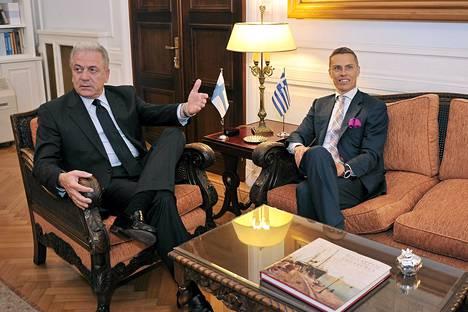 Kreikan ulkoministeri Dimitris Avramopoulos ja Suomen Eurooppa- ja ulkomaankauppaministeri tapasivat keskiviikkona Ateenassa.