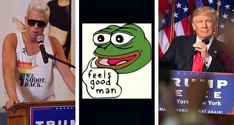 Milo Yiannopoulos, Pepe-sammakko ja Donald Trump.