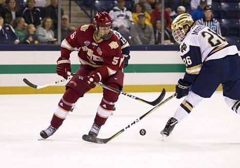 Henrik Borgström (vas.) pelasi kaksi kautta yliopistokiekkoa ja siirtyy nyt Florida Panthersiin.