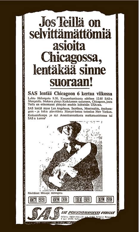 Helsingin Sanomissa julkaistu mainos 6.11.1970.