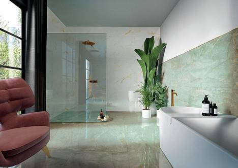 Kylpyhuoneiden laattamuoti on murroksessa, sillä valkoisen ja harmaan lisäksi nyt valitaan rohkeasti muitakin värejä.