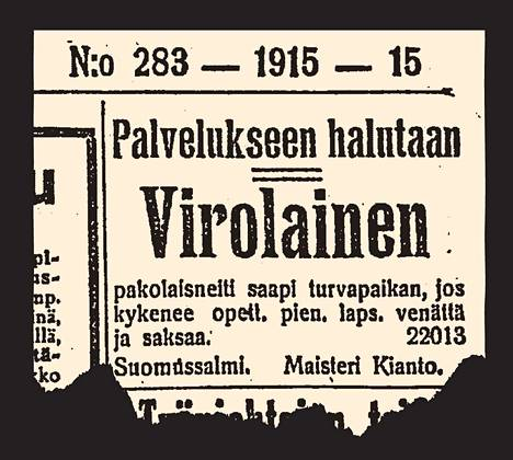 Ilmoitus Helsingin Sanomissa vuonna 1915.
