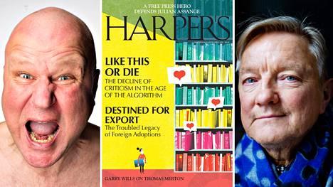 """Ari """"Paska"""" Peltonen, Harper's Magazinen huhtikuun numero sekä Hannu Väisänen."""