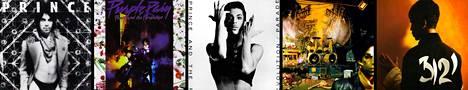 Prince albuumit: Dirty Mind 1980, Purple Rain 1984, Parade 1986, Sign 'o the Times 1987 ja 3121 vuonna 2006.