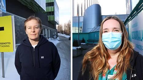 Jorvin teho-osaston lääkäri Päivi Porkka (vas.) ja Meilahden teho-osastolla työskentelevä sairaanhoitaja Tuija Uosukainen sairastivat koronataudin.