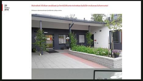 Kuvassa Kristiinankaupungissa toimivan yksityinen hoivakoti, jonka Valvira määräsi suljettavaksi. Ruutukaappaus hoivapalveluja tarjoavan Esperi Care -yrityksen nettisivuilta.