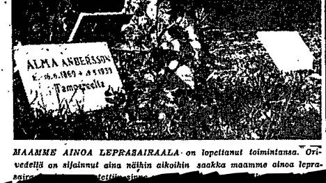Oriveden leprosorion sulkemisesta kerrottiin kahden palstan kuvanostolla 15. lokakuuta 1953.