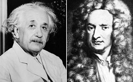 Eteläisen Tamil Nadun osavaltion yliopiston tutkija DJ Krishnan väitti, että fysiikan jättiläiset Albert Einstein (vas.) ja Isaac Newton olivat molemmat väärässä.