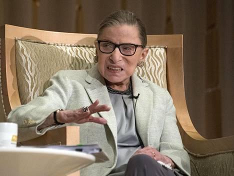 Ruth Bader Ginsburg osallistui keskustelutilaisuuteen Washingtonissa viime helmikuussa.
