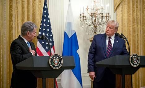 Tasavallan presidentti Sauli Niinistö ja Yhdysvaltojen presidentti Donald Trump keskiviikkona Valkoisen talon tiedotustilaisuudessa.