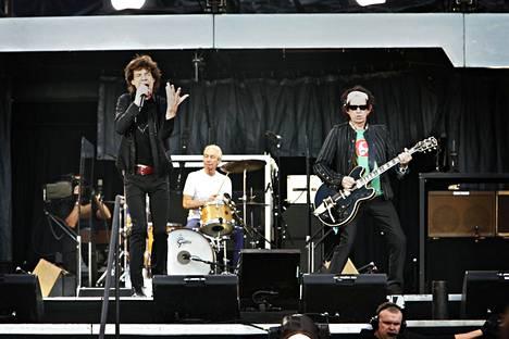 Mick Jagger ja Keith Richards Olympiastadionilla vuonna 2007.