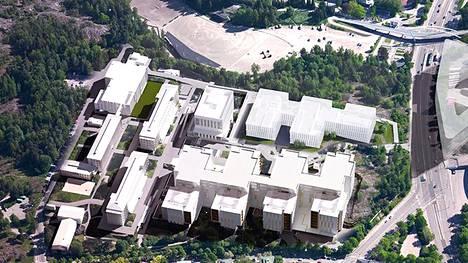 Havainnekuvaa tulevista suunnitelmista. Yläkulmaan on hahmoteltu myös Helsinki Garden.