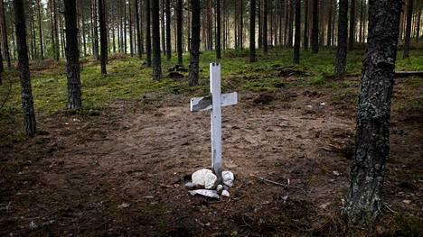 Tuntematon hauta näkyy Hikiän kylään menevältä tieltä Hausjärvellä.