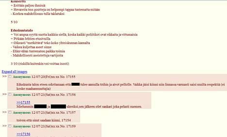 Kuvakaappaus Tor-verkossa käydystä keskustelusta. HS on peittänyt poliitikkojen nimet keskustelusta.