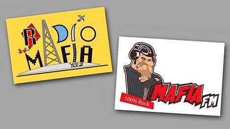 Vasemmalla Radiomafian logo, oikealla Radio Mafian logo.