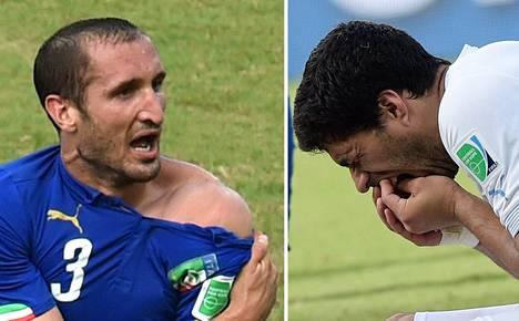 Miksi Luis Suarez (oik.) puri Italian Giorgio Chielliniä?