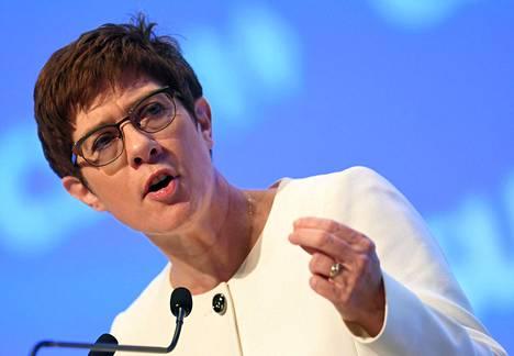 Kristillisdemokraattisen CDU-puolueen johtaja Annegret Kramp-Karrenbauer haluaisi Pohjois-Syyriaan kansainvälisessä valvonnassa olevan puskurivyöhykkeen.