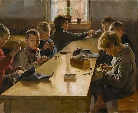 Albert Edelfeltin maalaus Sisäkuva poikien työkodista Helsingissä vuodelta 1885.