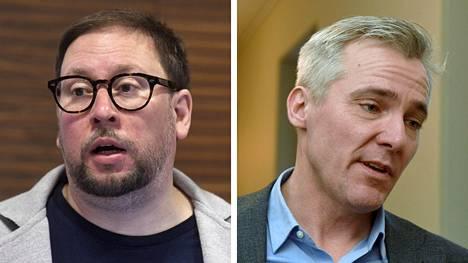 Vasemmistoliiton ja Rkp:n eduskuntaryhmien johtajat Paavo Ahinmäki ja Anders Adlercreutz.
