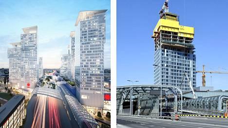 Arkkitehtitoimiston havainnekuva Kalasataman torneista ja ensimmäinen rakenteilla oleva torni Majakka toukokuun puolivälissä.