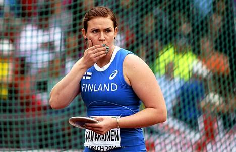 Sanna Kämäräinen oli Zürichin EM-kisojen kiekonheiton finaalissa seitsemäs..