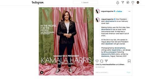 Vogue julkaisi Kamala Harrisin kansikuvan Instagramissa.