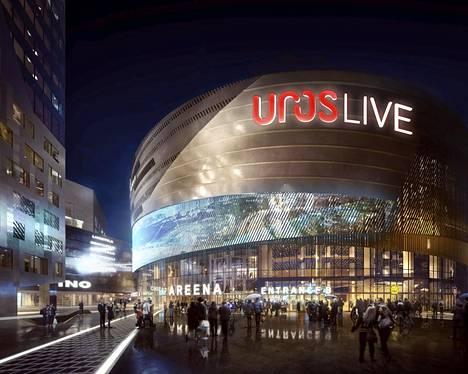 Havainnekuvassa uusi Uros Live -areena.