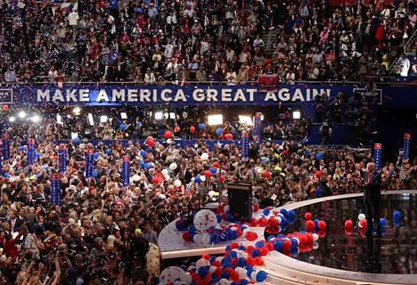 Donald Trumpin presidenttiehdokkuutta juhlittiin näyttävästi republikaanien vuoden 2016 puoluekokouksessa Ohiossa.