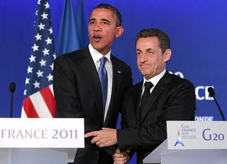 Yhdysvaltain presidentti Barack Obama ja Ranskan presidentti Nicolas Sarkozy pitivät lehdistötilaisuuden G20-maiden huippukokouksessa Cannesissa.