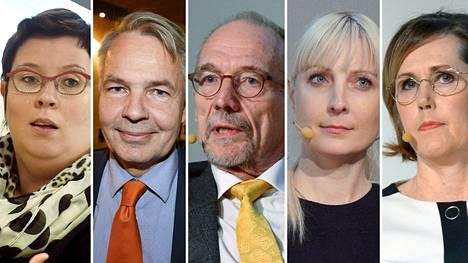 Presidenttiehdokkaita vasemmalta oikealle: Merja Kyllönen (vas), Pekka Haavisto (vihr), Nils Torvalds (r), Laura Huhtasaari (ps) ja Tuula Haatainen (sd).