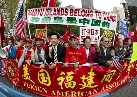 New Yorkissa osoitettiin mieltä Kiinan saariomistuksen puolesta YK:n yleiskokouksen aikaan keskiviikkona.