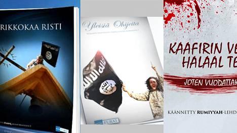 Kuvakaappauksia blogista, johon on suomennettu Isisin lehtien kirjoituksia.