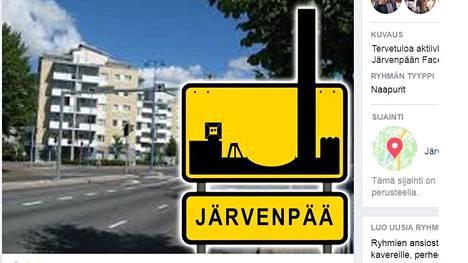 Perinteisestä taajama-liikennemerkistä tehtiin huumorimielellä uusi Järvenpää-versio.