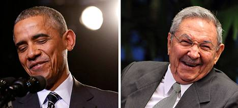 Yhdysvaltain presidentti Barack Obama ja Kuuban presidentti Raul Castro.