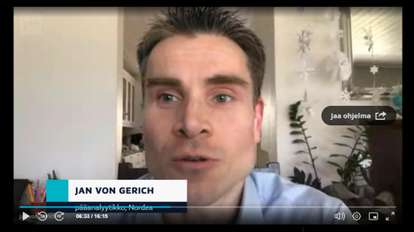 Nordean pääanalyytikko Jan von Gerich kommentoi perjantaina 10. huhtikuuta puoli yhdeksän uutisissa viidensadan miljardin tukipakettia, jolla Euromaat pyrkivät helpottamaan koronan tuomia talousongelmia.