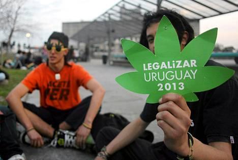 Nuoret odottivat hallituksen päätöstä uudesta marihuanalaista Montevideossa keskiviikkona.