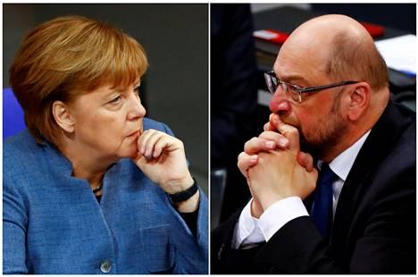 Angela Merkel ja Martin Schultz 12. joulukuuta Saksan liittopäivien istunnossa.
