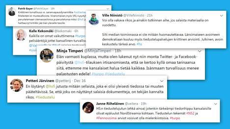 Helsingin Sanomien tiedustelujuttu herätti keskustelua sosiaalisessa mediassa.