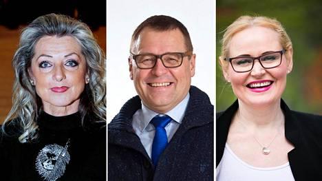 Ritva Elomaa, Matti Torvinen ja Veera Ruoho ovat vaihtaneet leiriä perussuomalaisten puoluekokouksen jälkeen.