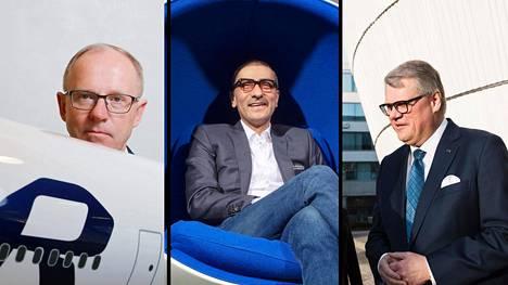 Finnairin toimitusjohtaja Pekka Vauramo, Nokian toimitusjohtaja Rajeev Suri ja UPM:n toimitusjohtaja Jussi Pesonen.