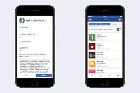 Facebookin julkaisema esimerkki siitä, miltä suoraan yrityksen Facebook-sivuille jätetty työhakemus tai yleisesti haettavat työpaikkailmoitukset (oik.) voisivat näyttää.