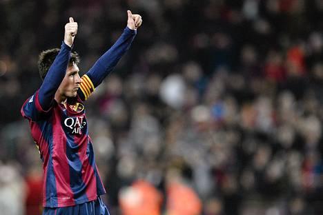 Lionel Messi juhli Copa del Reyssä tekemäänsä maalia.