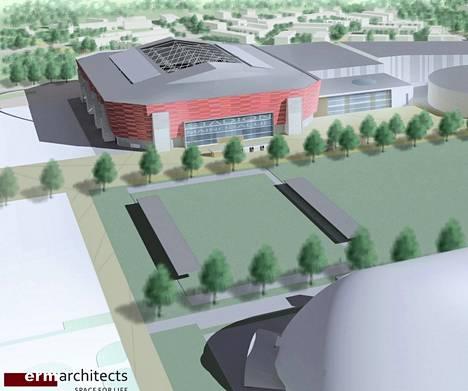Havainnekuva Tapiolan urheilupuistoon suunnitellusta stadionista.