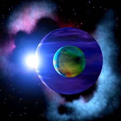 Kuvittajan näkemys valtavasta kuusta, joka kiertää Jupiterin kokoista planeettaa.