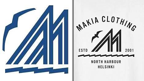 Kuvaparissa vasemmalla on Merenkävijät-pursiseuran logo ja oikealla kuviointi Makia Clothingin tuotteessa. Pursiseuran logo on alun perin vuodelta 1923.
