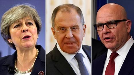 Lauantaina turvallisuuskonferenssissa Münchenissä puhuvat muun muassa Britannian pääministeri Theresa May (vas.), Venäjän ulkoministeri Sergei Lavrov ja Yhdysvaltain presidentti Donald Trumpin turvallisuusneuvonantaja Herbert McMaster.