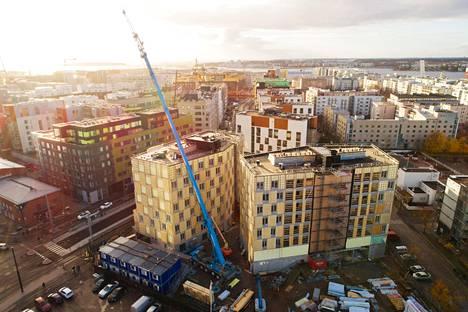 Wood Cityn työmaa Jätkäsaaressa marraskuussa 2017.