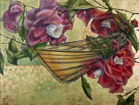 Tero Annanollin teos Love Boat. Akryyli, lehtimetalli kierrätyskankaalle, 123x163 cm, 2009.